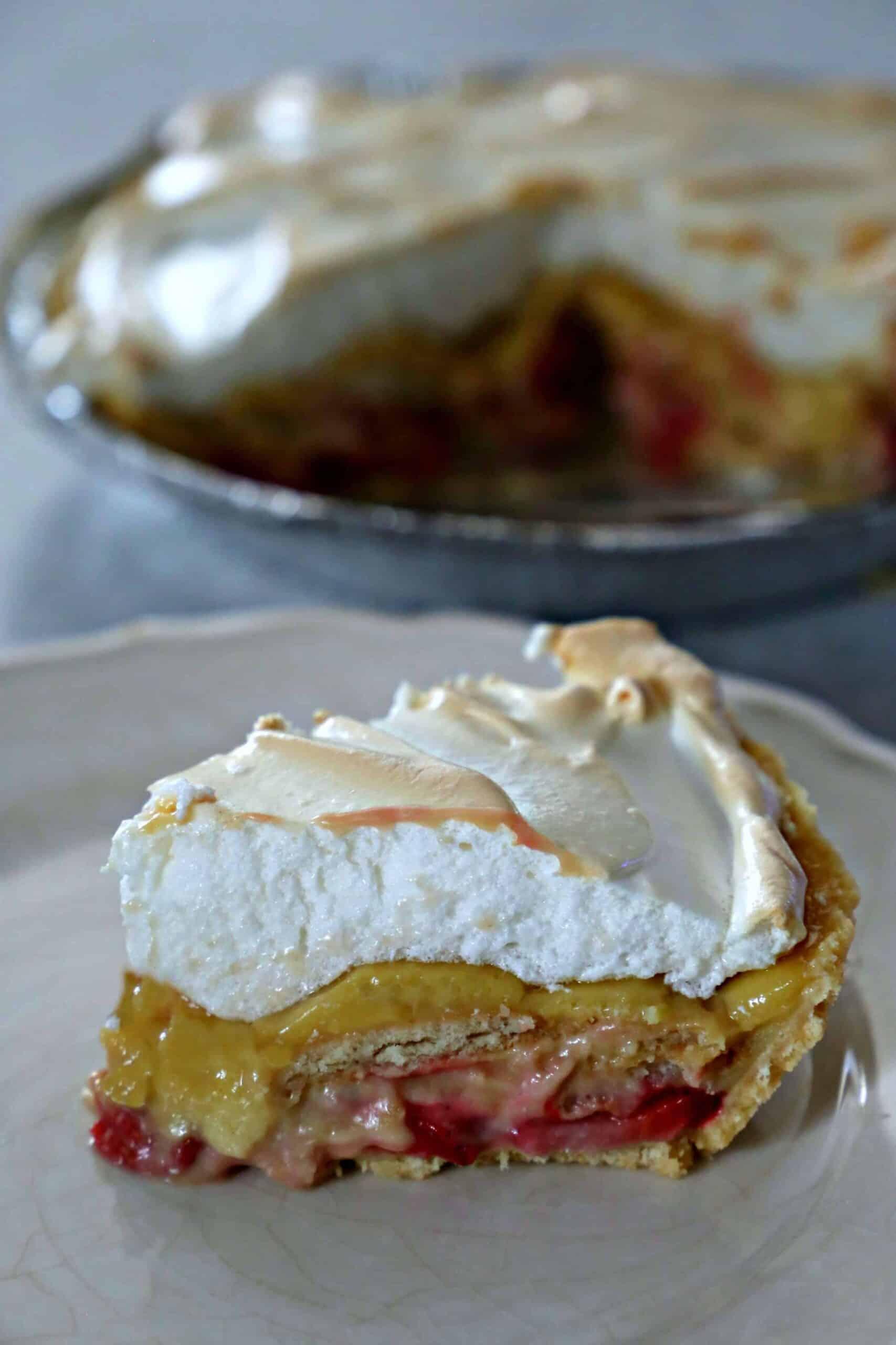 slice of strawberry pudding pie