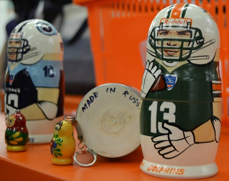 Russian nesting dolls that look like football players