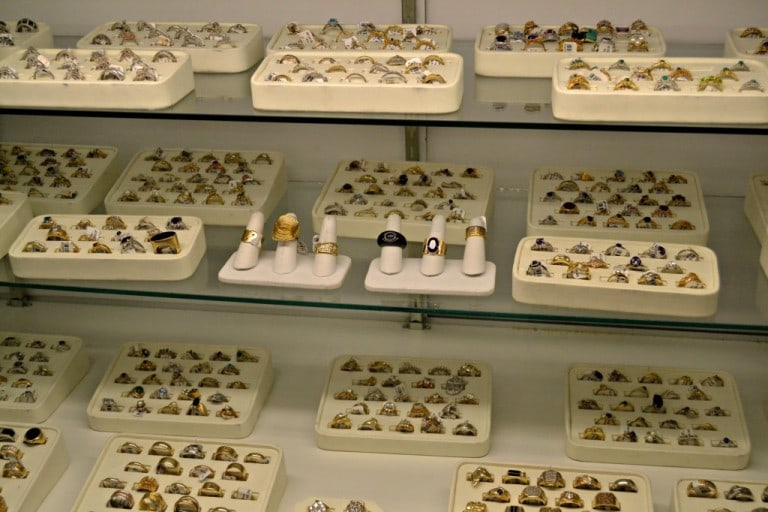 Jewelry at Unclaimed Baggage Center in Alabama - This is where unclaimed baggage ends up.