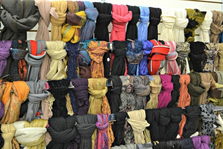 A wall of scarves at Unclaimed Baggage Center in Alabama