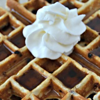 chocolate chip waffle with whipped cream