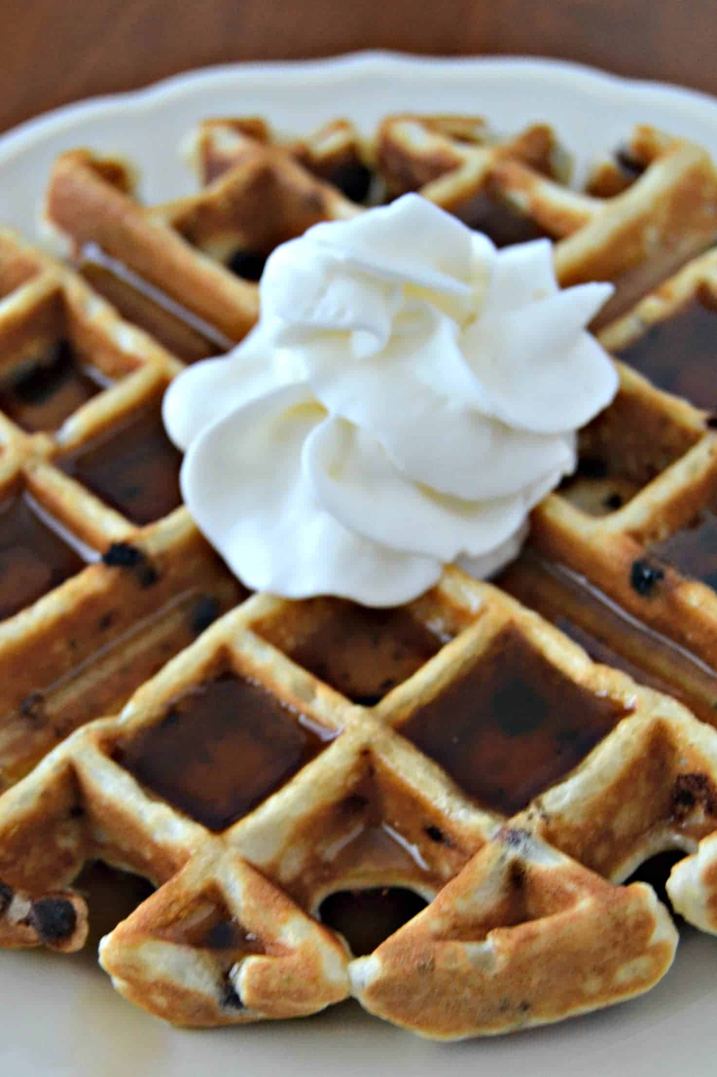 Chia Chocolate Chip Waffles with whipped cream