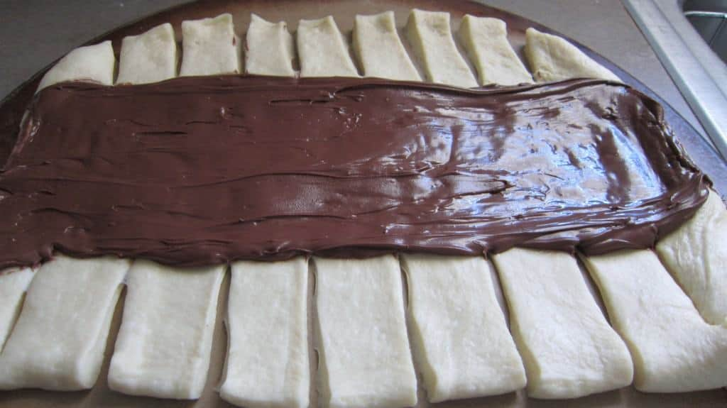 sweet bread dough with Nutella slathered down the middle