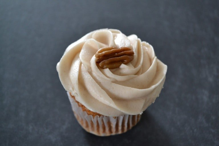 cupcake with pecan on top