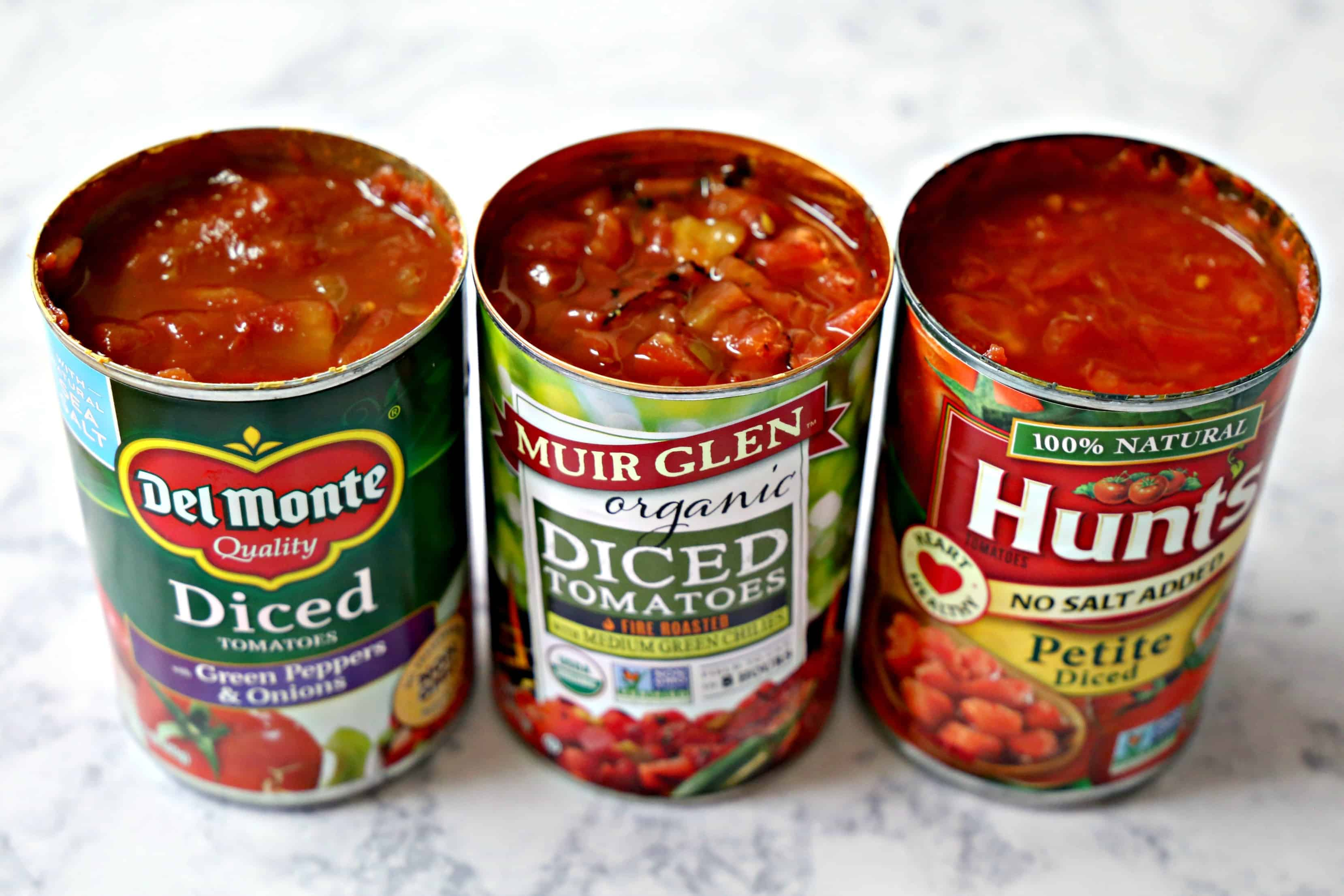 three cans of diced tomatoes