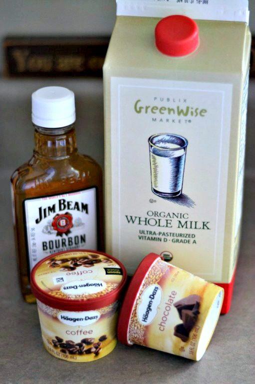 Jim Beam, chocolate Haagen-Dazs, and whole milk