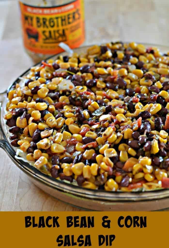 This Black Bean and Corn Salsa Dip is five layers of yummy goodness that you can scoop up with chips and devour. For a healthier twist, you can use bell peppers instead.
