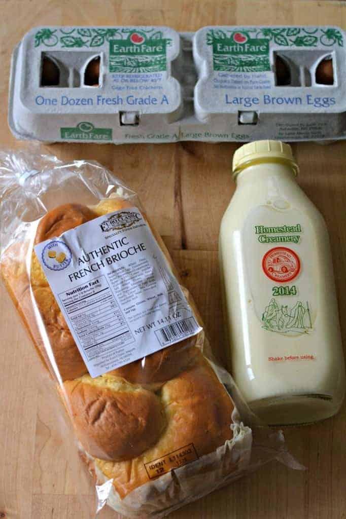 brioche bread, eggs, and custard to make brioche French bread