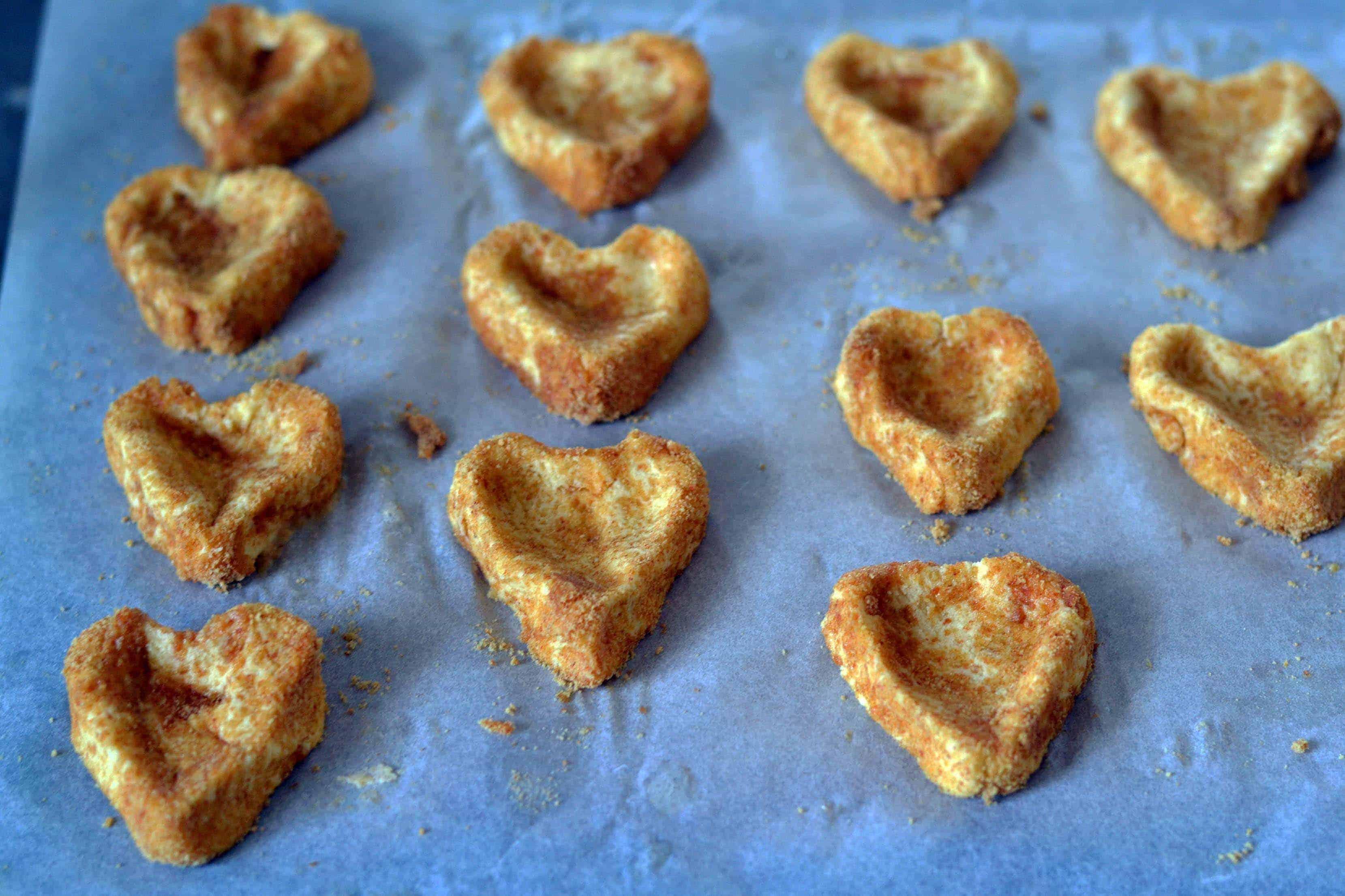 homemade graham cookies shaped like hearts