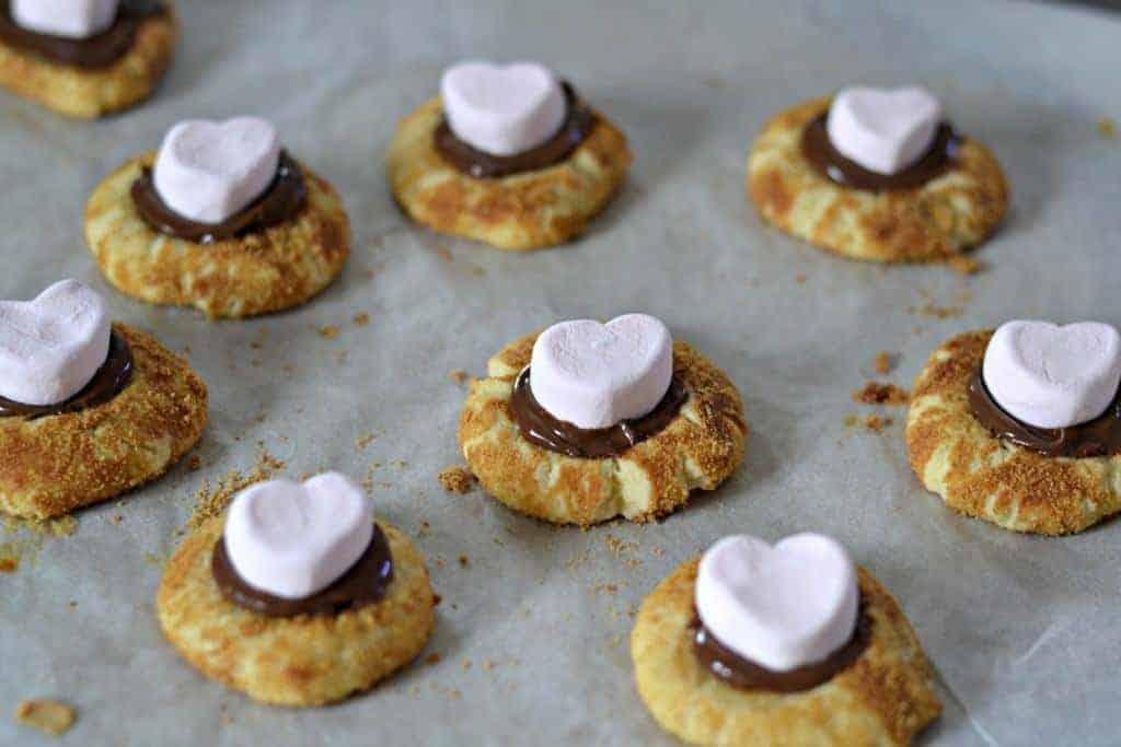 Pink Heart marshmallows on cookies