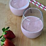 glasses with strawberry smoothies