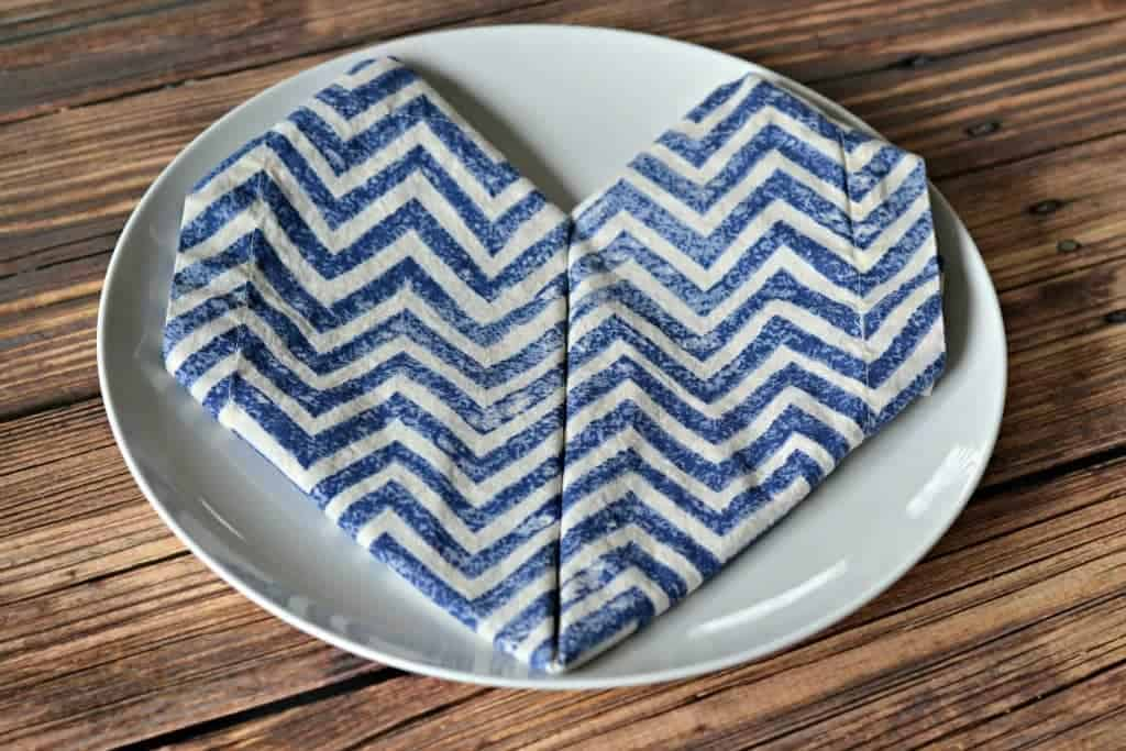 Heart-shaped napkin fold