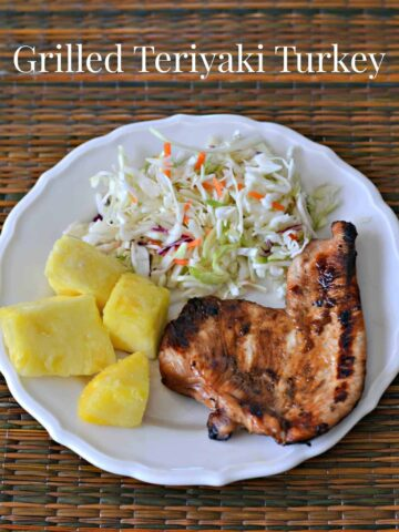 plate with grilled turkey, coleslaw, and pineapple