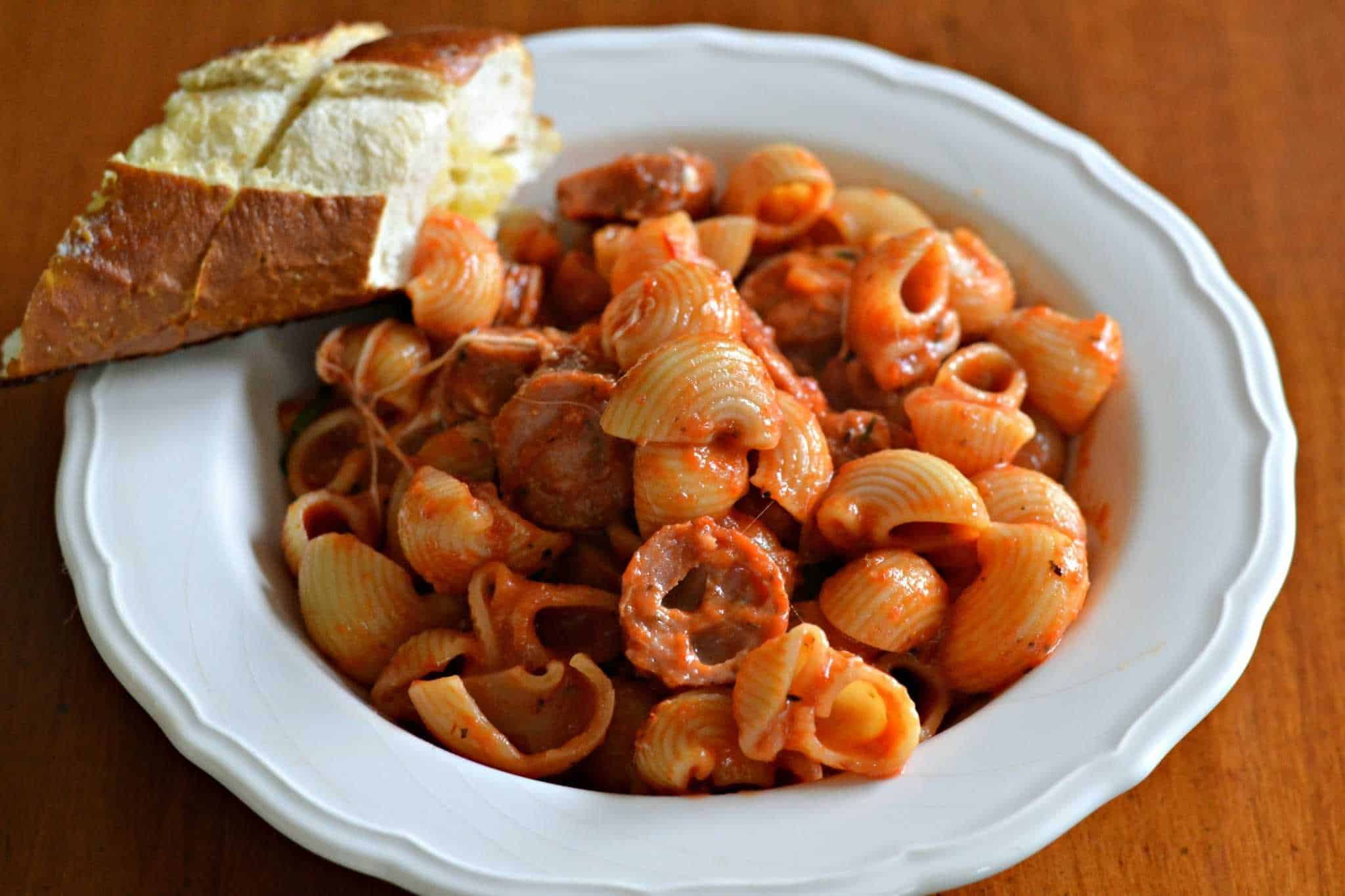 Italian Sausage Bake and piece of French bread