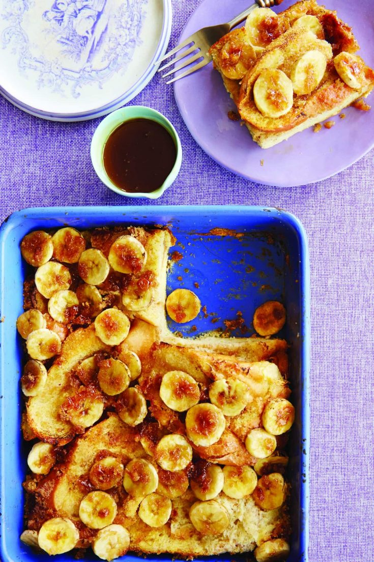 This decadent Baked French Toast With Banana Brûlée will be the star of your next brunch. Lucious French Toast made with a touch of Grand Marnier and topped with Banana Brûlée - what's not to love?