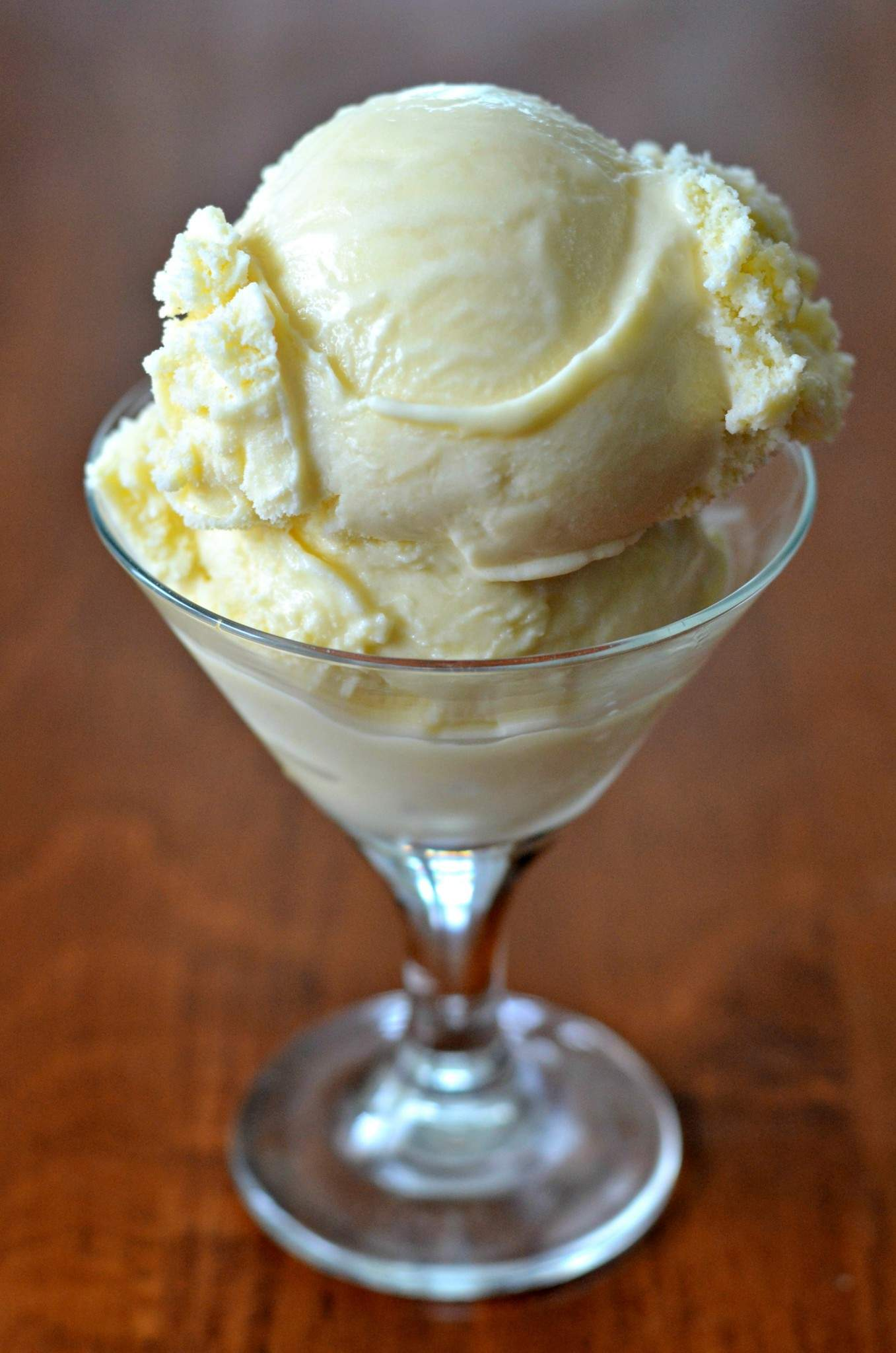 Cup of homemade vanilla ice cream made with simple ingredients