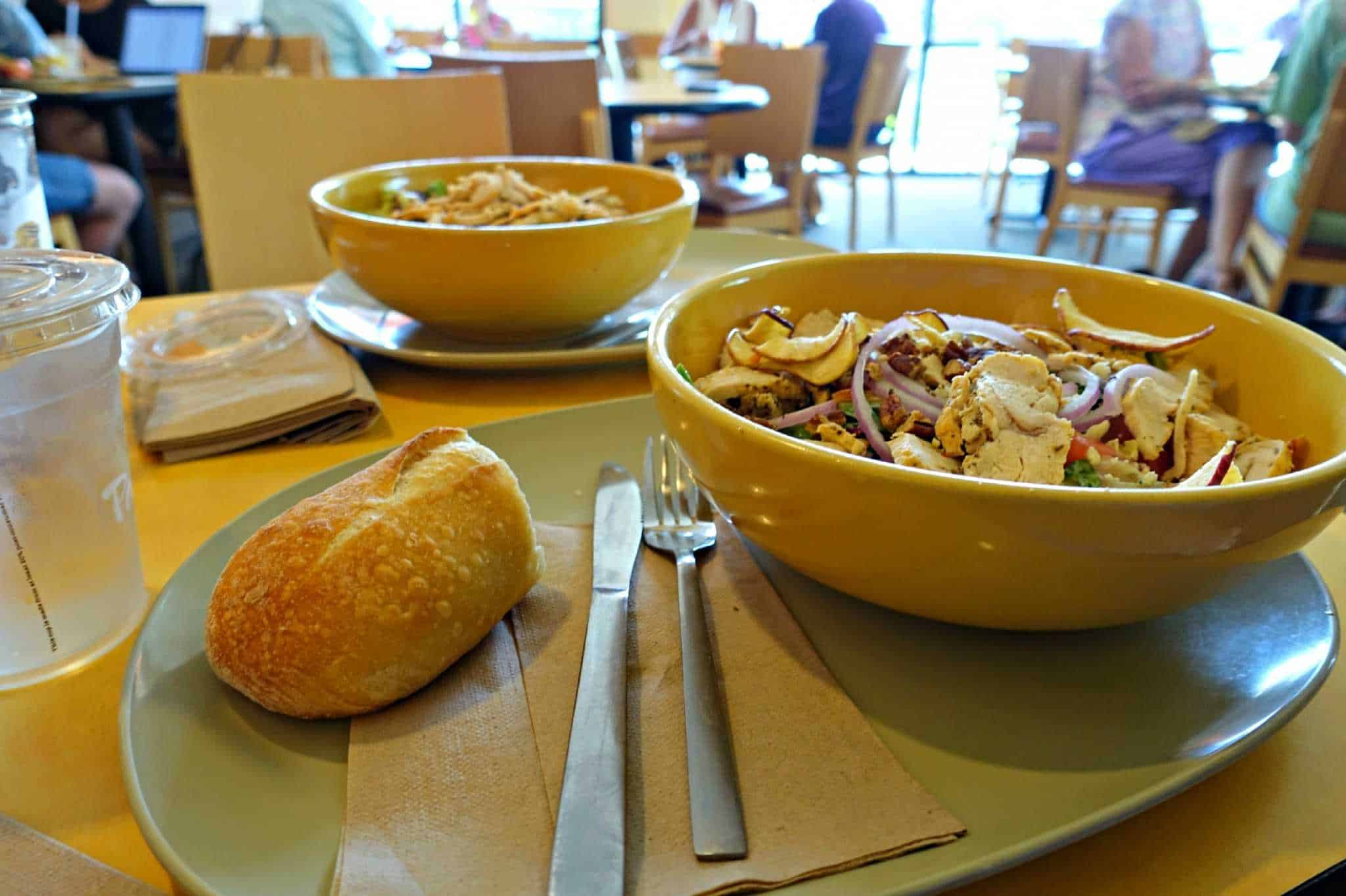 table with Panera salads