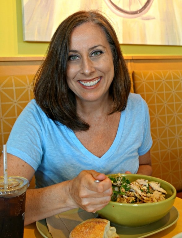 Lynda eating a salad