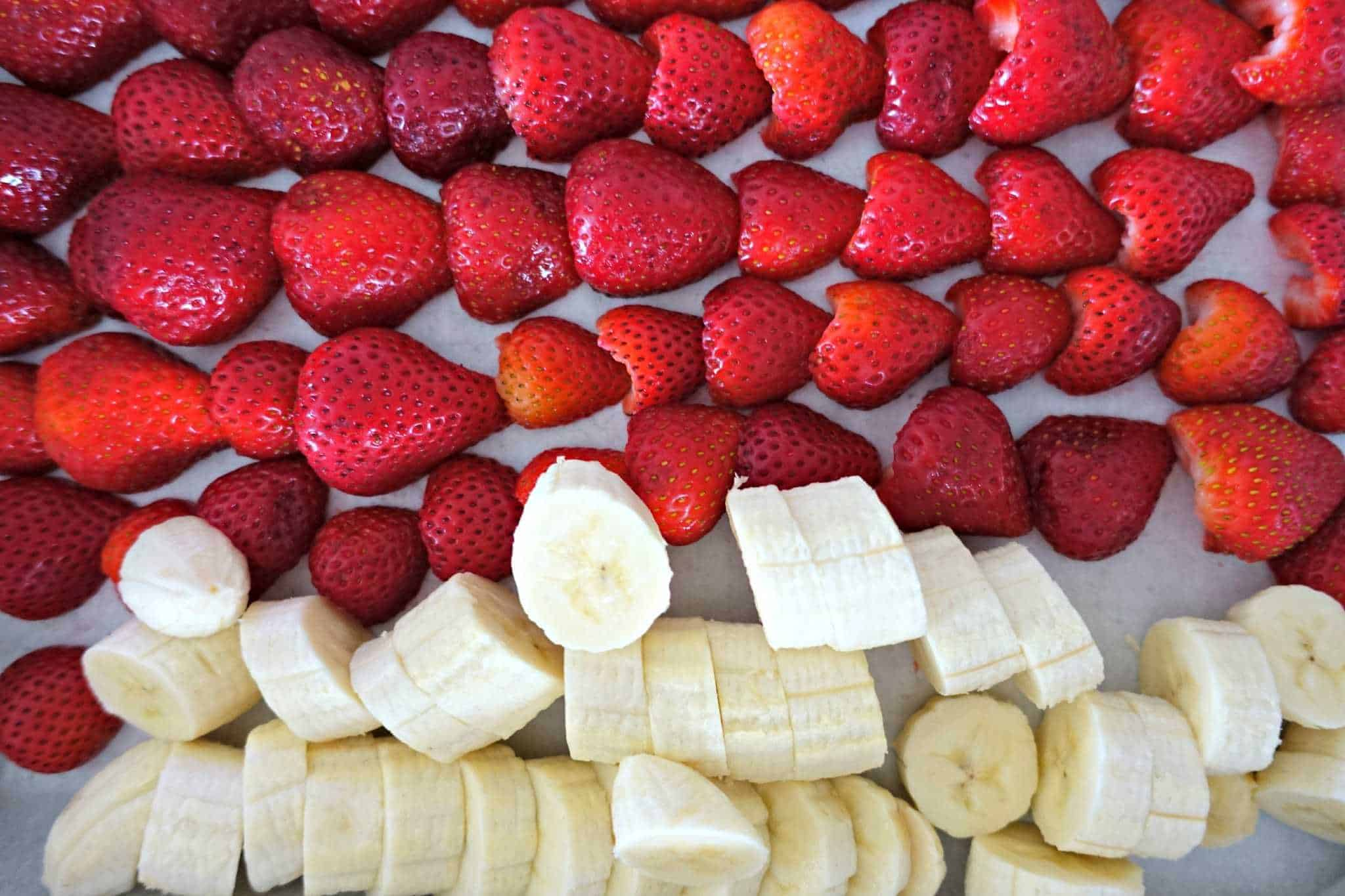 Sliced Strawberries and Bananas