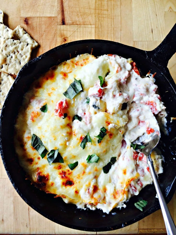 Hot Caprese Dip with Gluten-Free Nut Thins