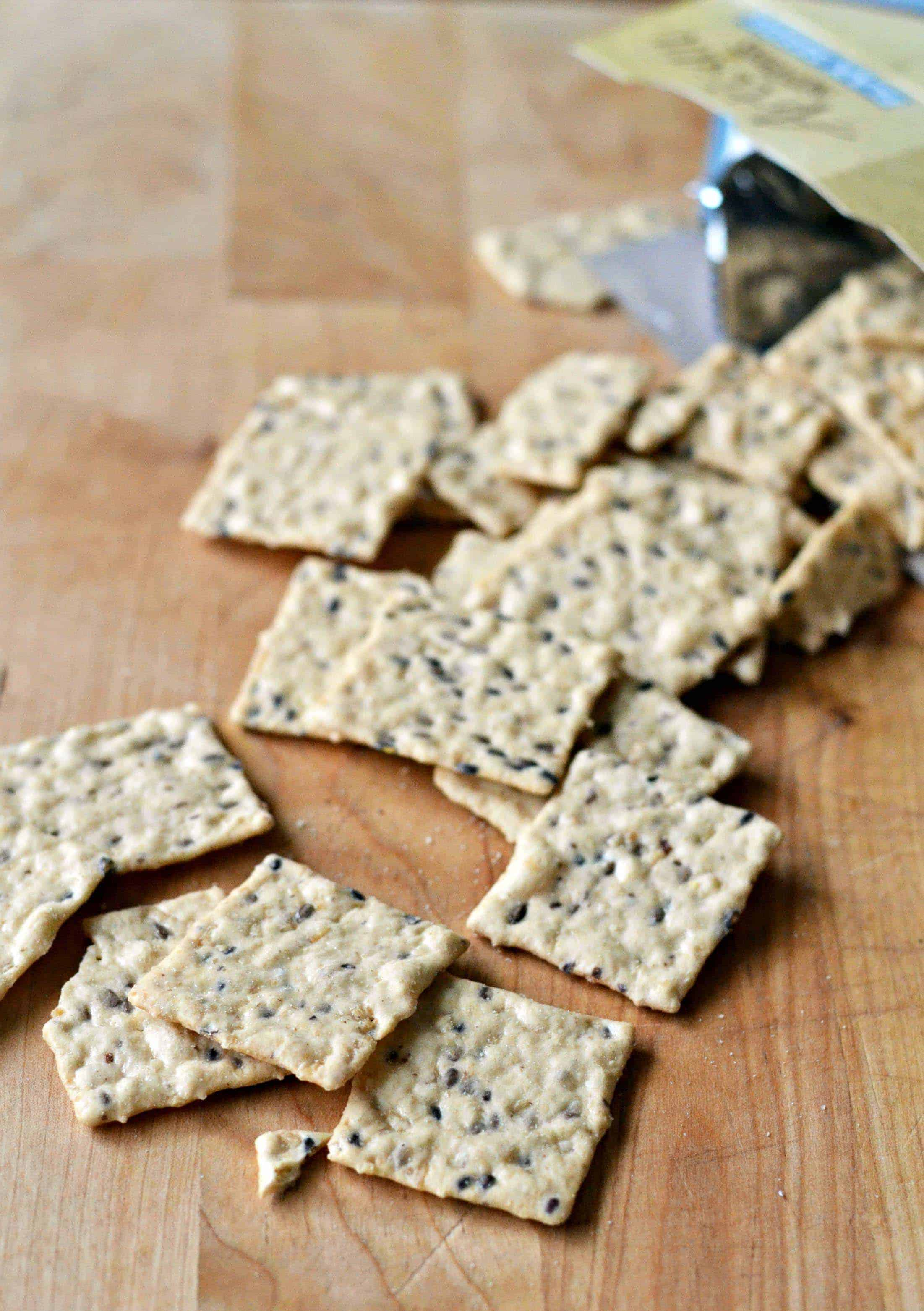 Blue Diamond crackers on a board