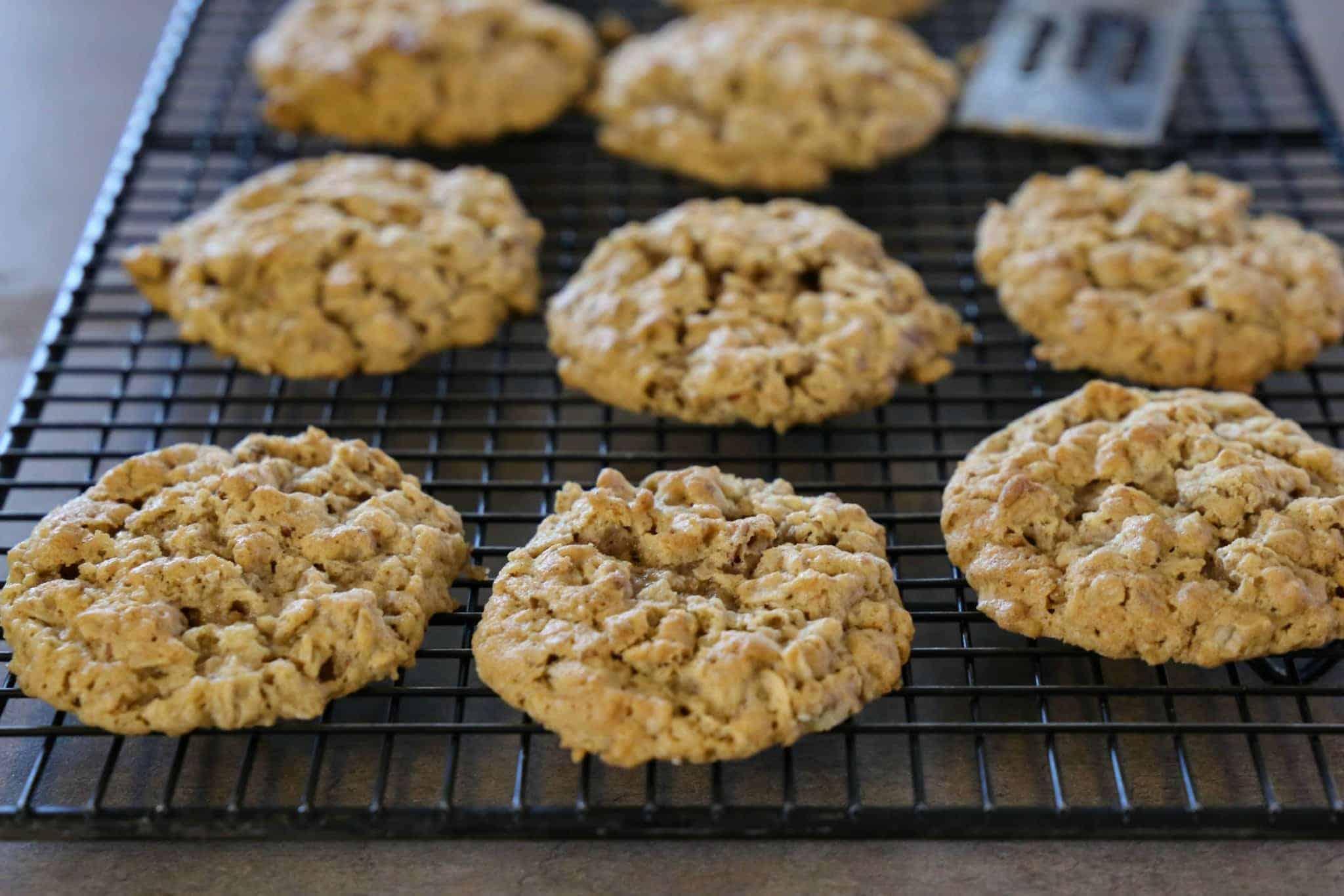 pecan cookies on a wire baking rack