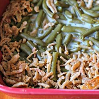 pan of green bean casserole