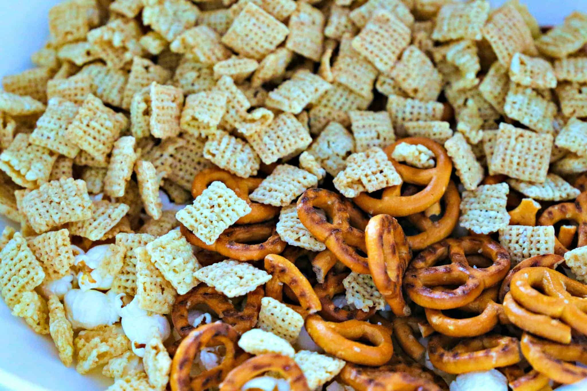 pretzels, popcorn, and Chex mix