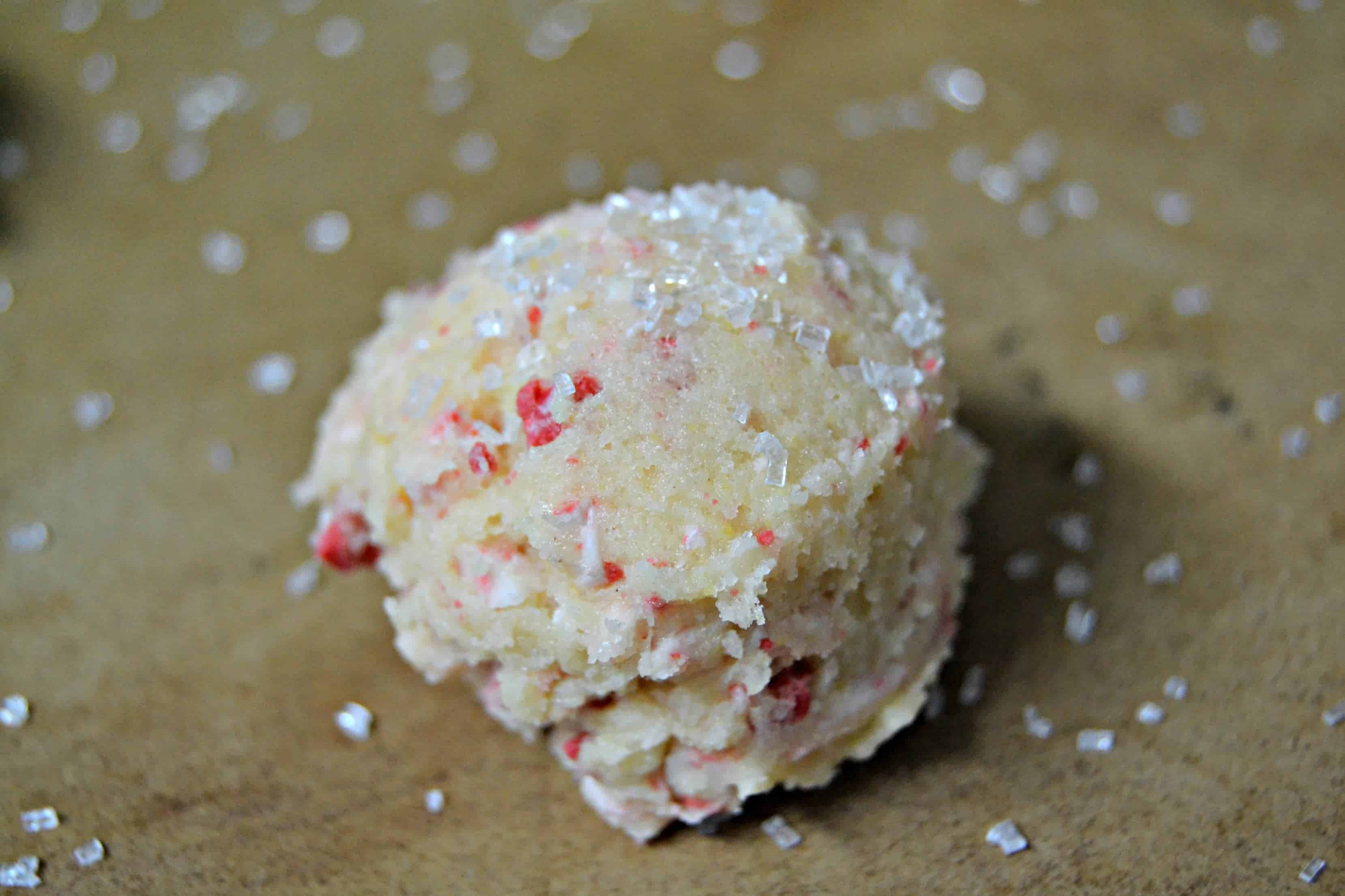 peppermint cookie dough with sugar on top