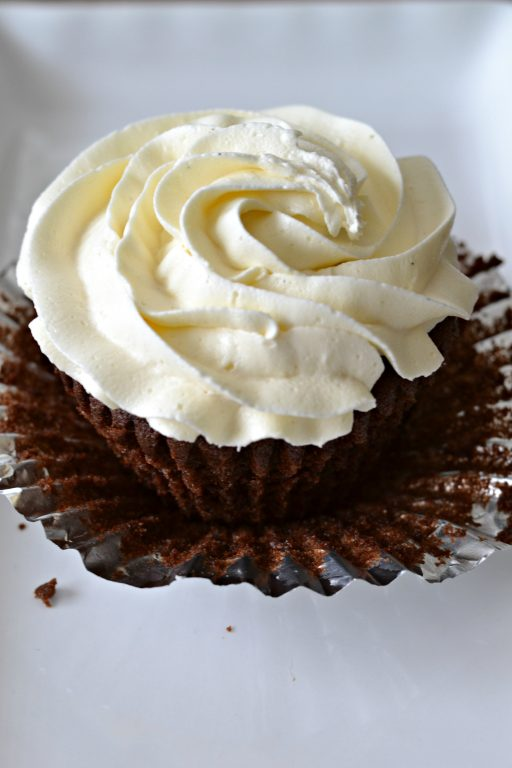 chocolate cupcake with vanilla buttercream frosting