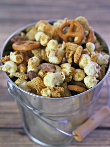 pail filled with snack mix
