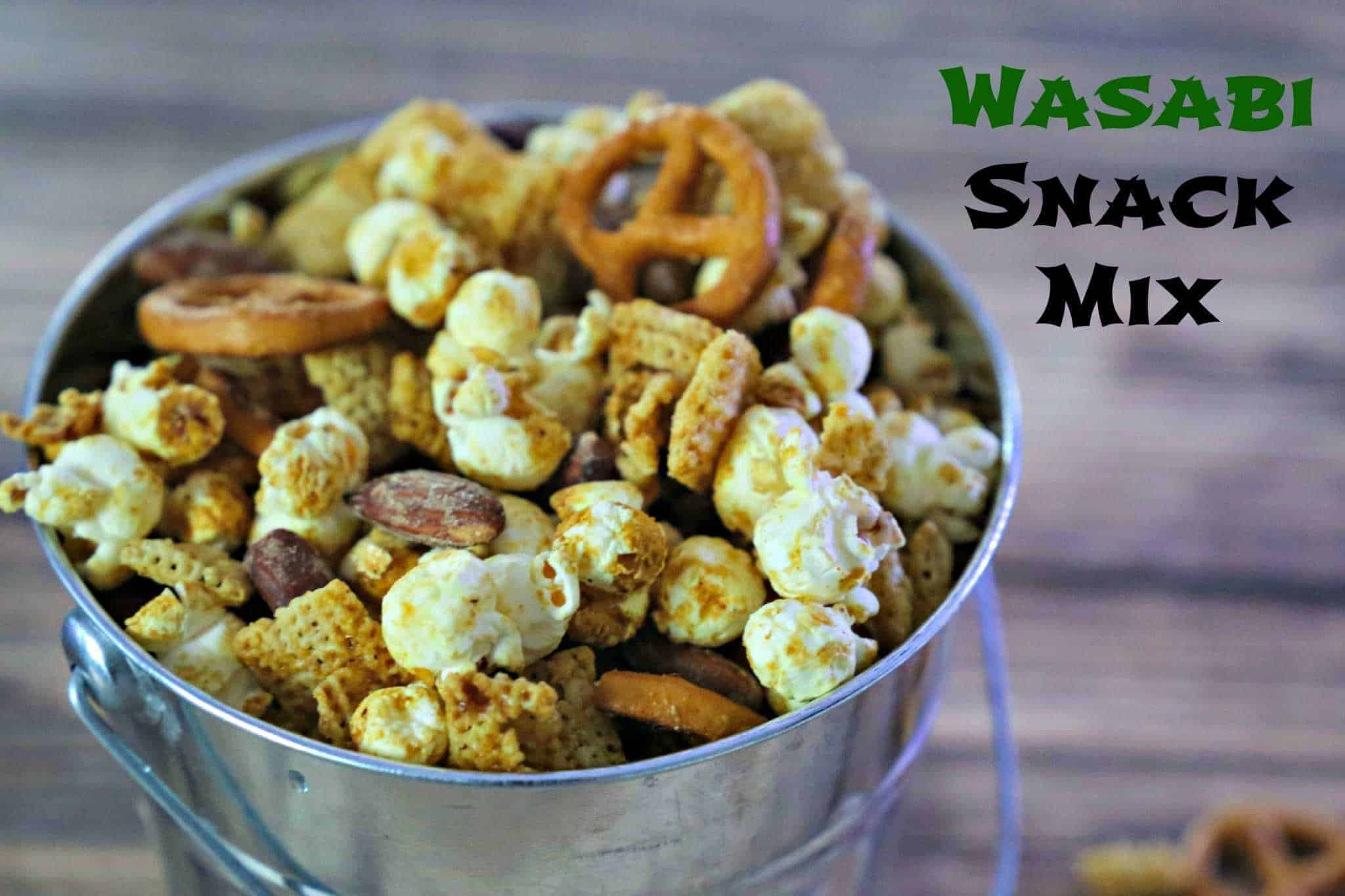 bucket filled with Wasabi Chex Mix Snack