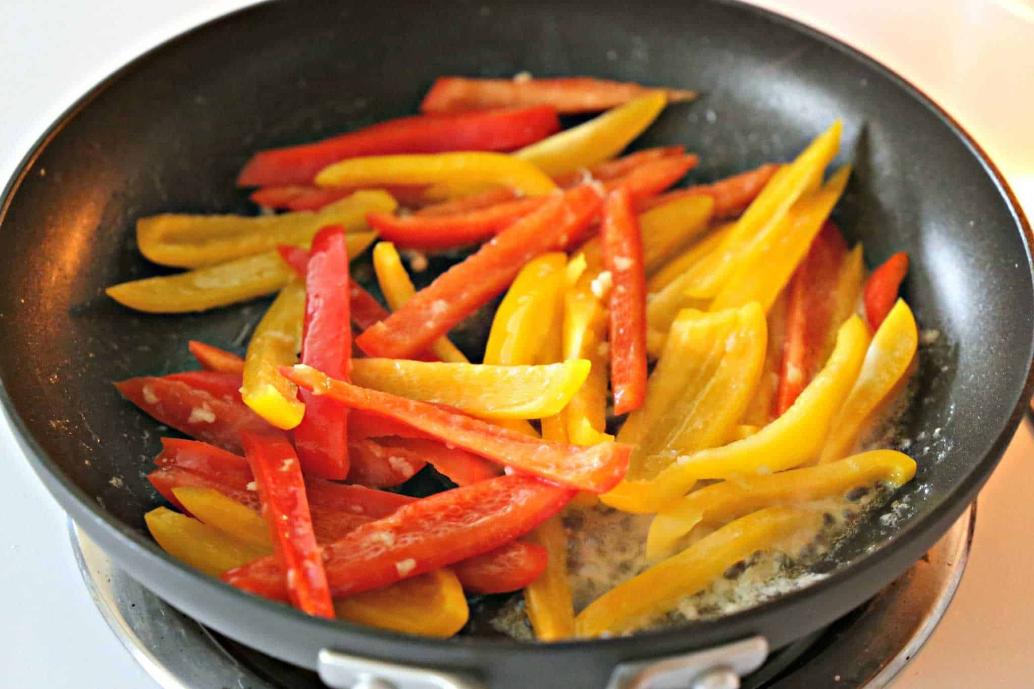 Sauteing bell peppers