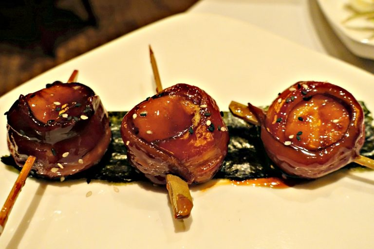 Bacon Wrapped Scallops at Village Tavern