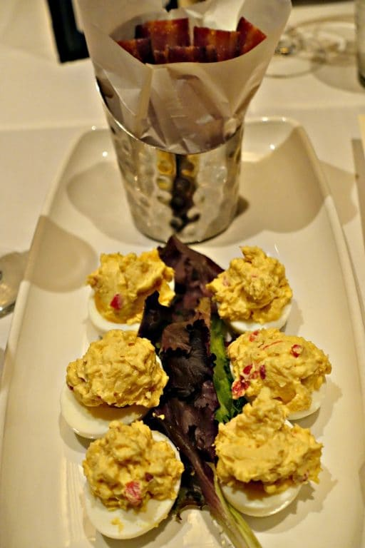 Candied Bacon and Deviled Eggs at Village Tavern