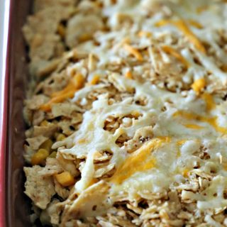 Taco bake with tortilla chips on top