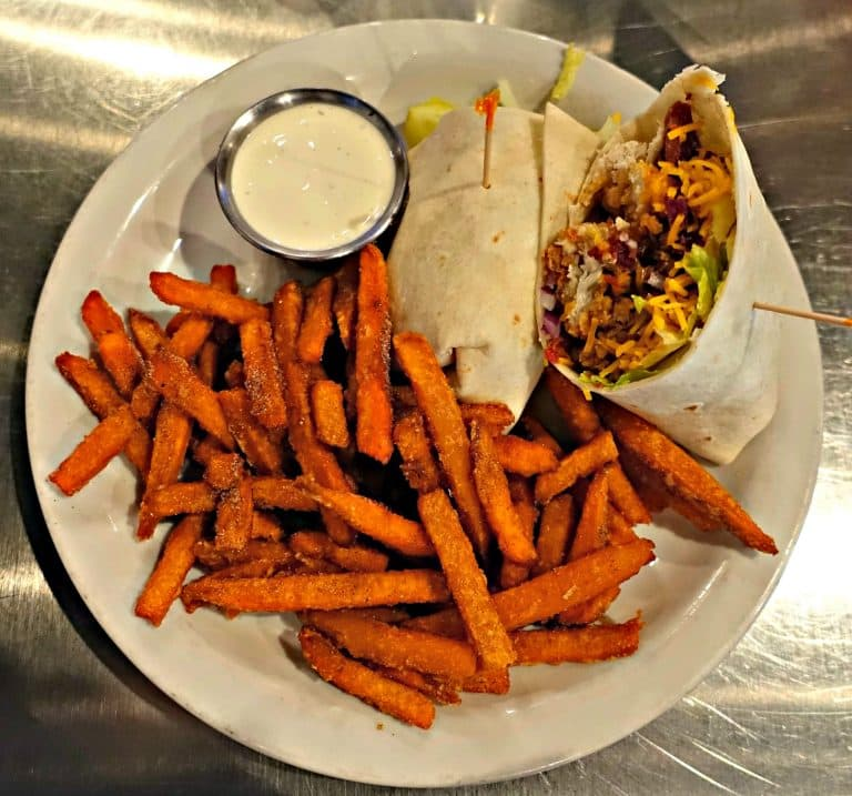 Sandwich Wrap with Sweet Potato Fries