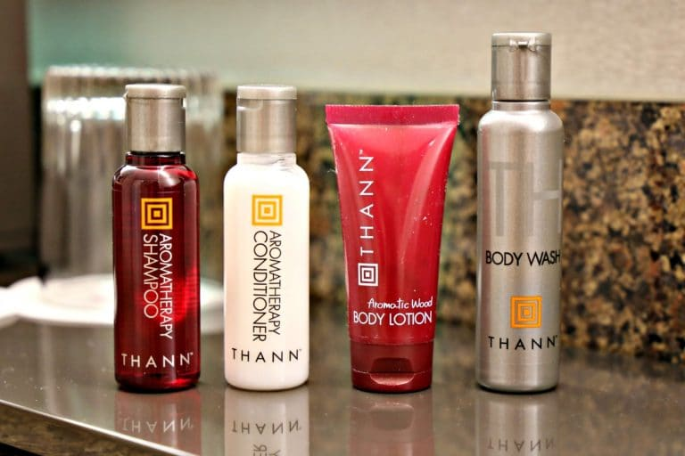 Thann body products in hotel bathroom