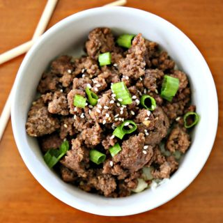 bowl with Korean beef and scallions