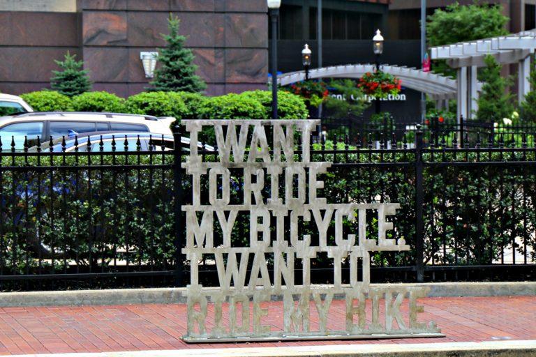 bike rack in downtown Pittsburgh