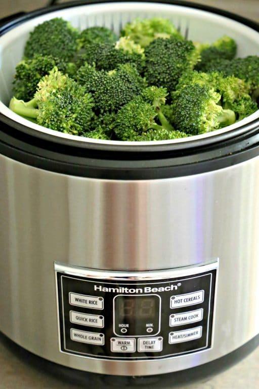 broccoli in Hamilton Beach rice cooker