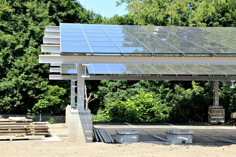 Solar panels on top of parking lot at Frick Environmental Center