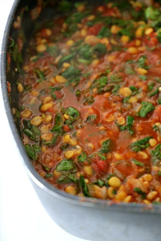 skillet of Spinach and Tomato Dal