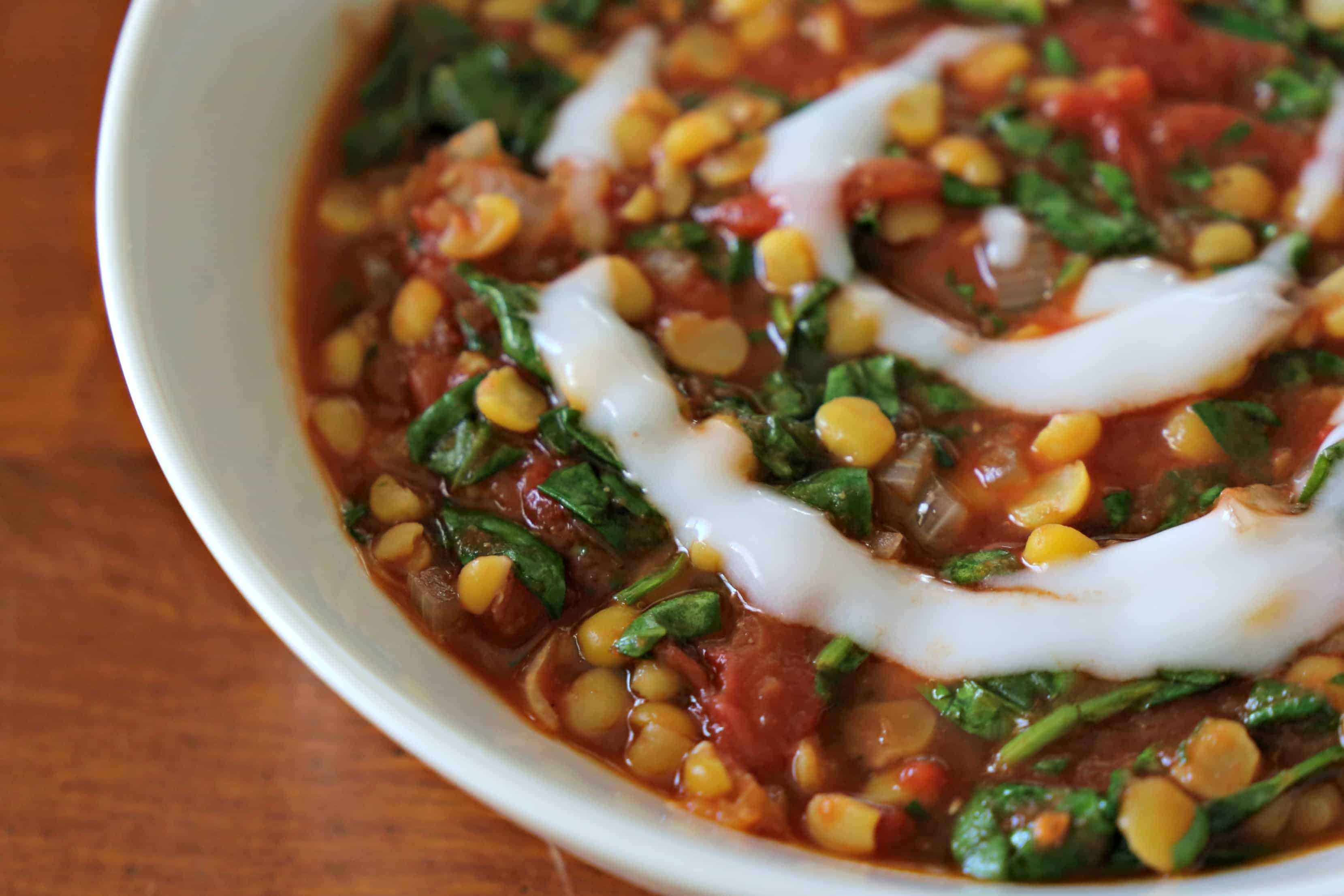 bowl of Spinach and Tomato Dal