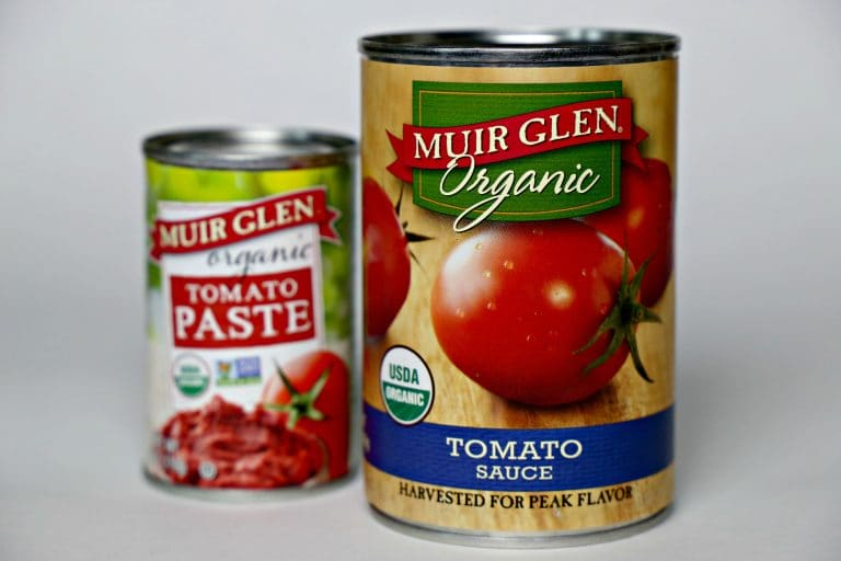 can of tomato paste and can of tomato sauce