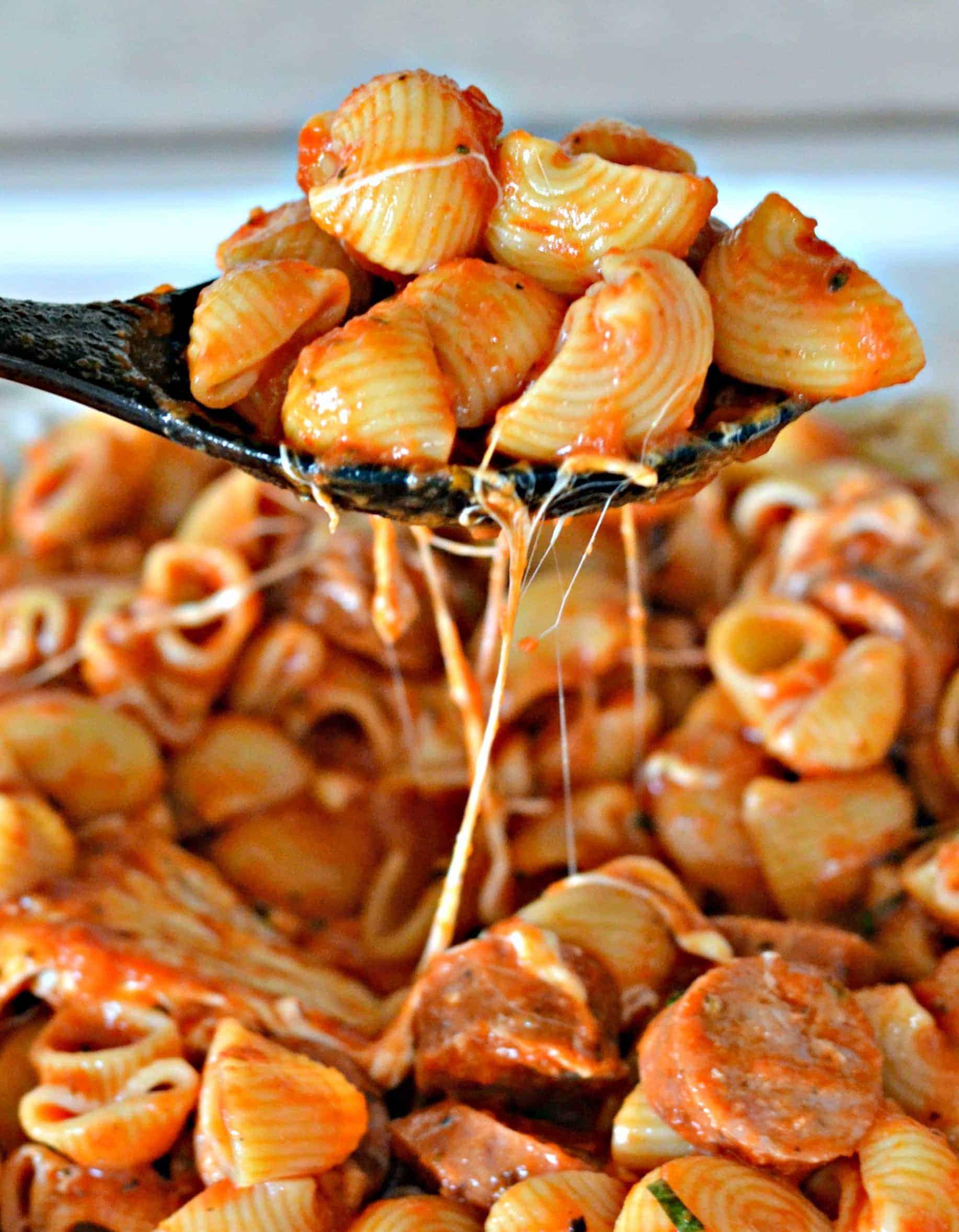 scoop of Italian sausage pasta