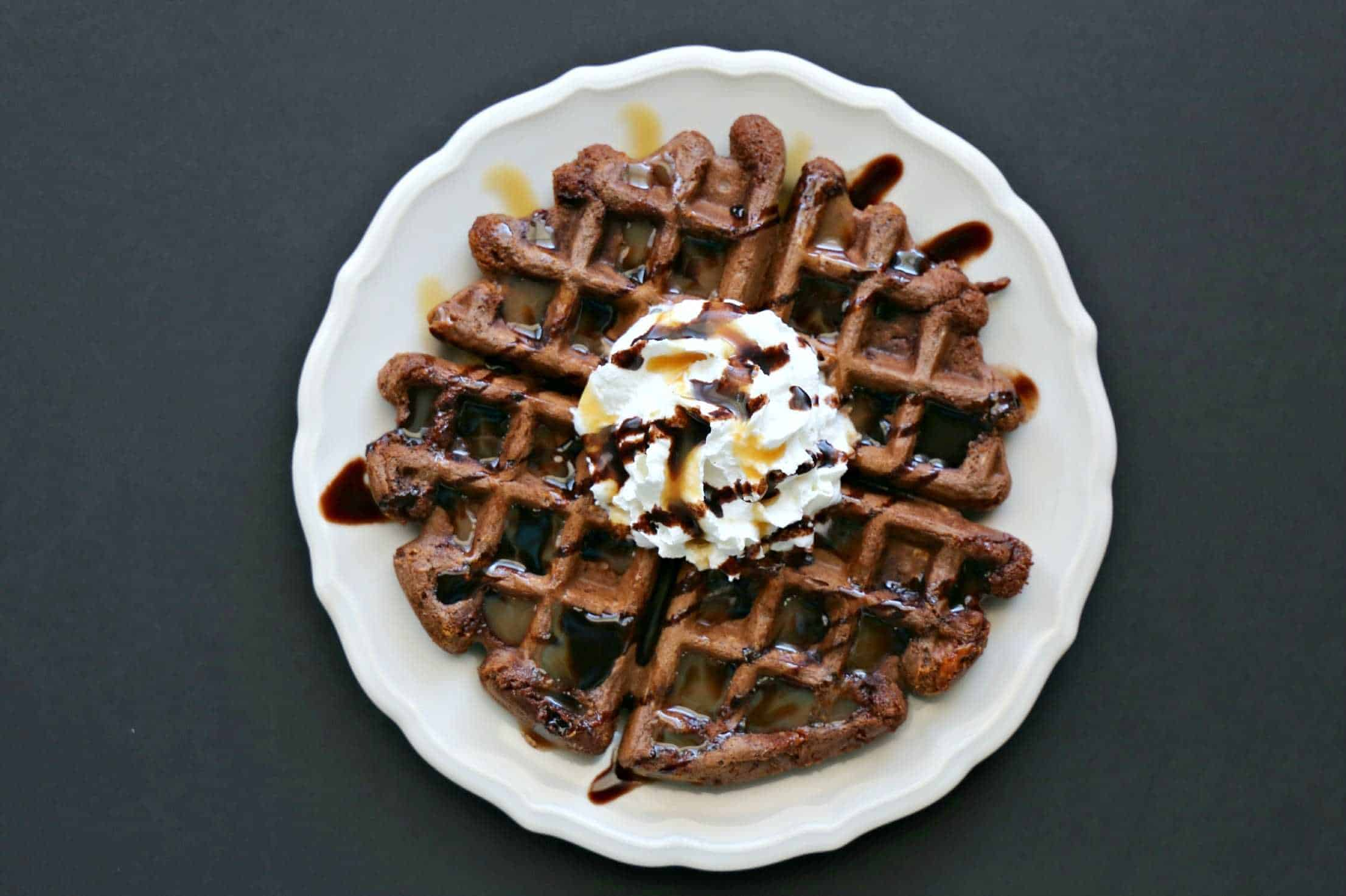 plate with chocolate waffle with Butterfinger pieces