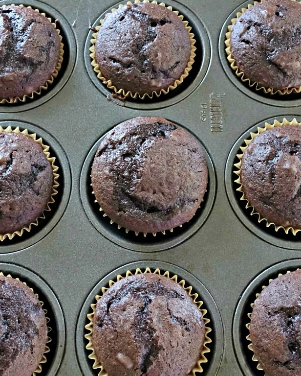 Chocolate Cupcakes in muffin pan
