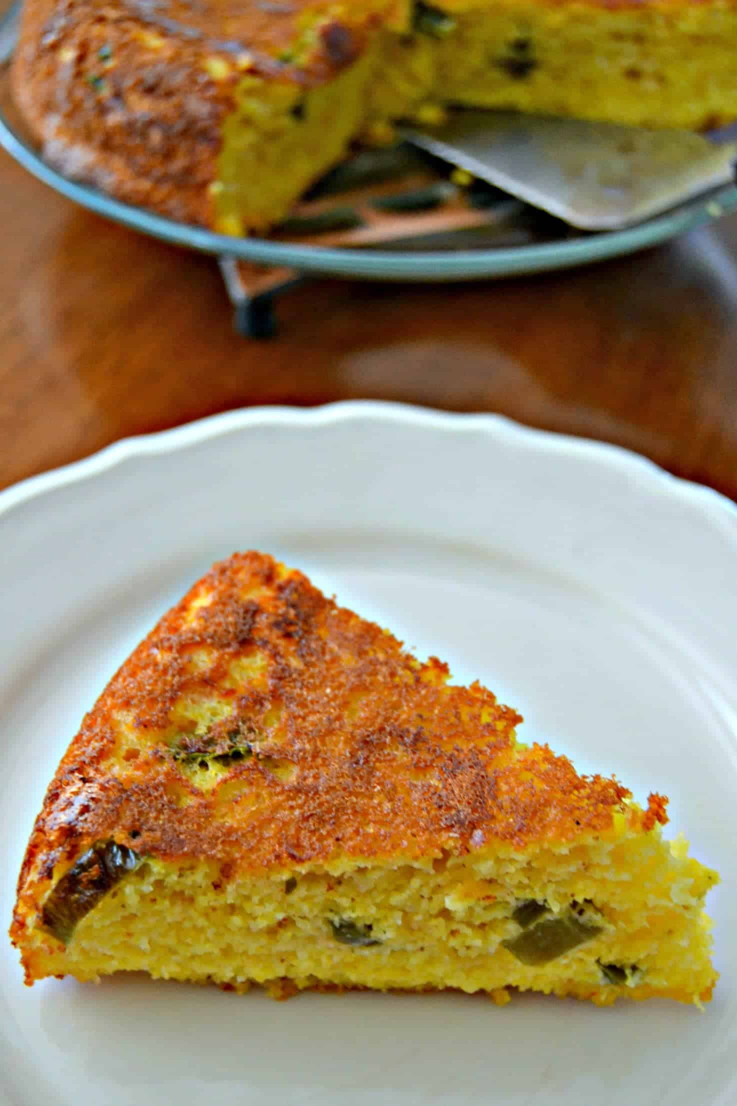 slice of cornbread made with peppers