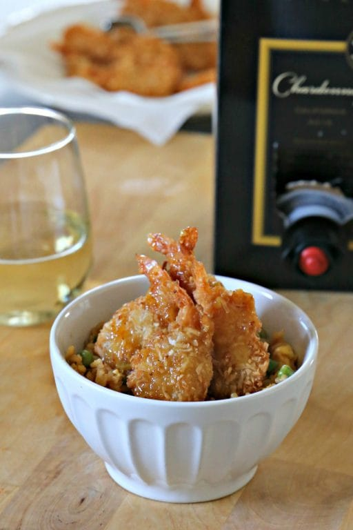 Msg 4 21+ Easy Coconut Shrimp and Tropical Fried Rice, paired with Black Box Chardonnay, is a way to enjoy a delicious seafood dinner at home. #40PerfectPairings | SouthernKissed.com